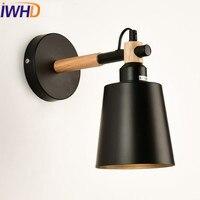 IWHD Eisen LED Wandleuchte Up Down Jahrgang Industrielle Beleuchtung Einstellbar Holz Arm Wandleuchte Leuchten Stil Loft Retro Wandleuchte