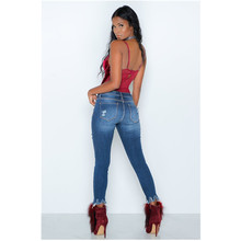 The new fashionable personality of the whole world wears old frayed lace casual high-waisted sexy female jeans fashionable destroy wash frayed slimming jeans for women