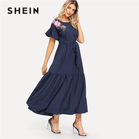 SHEIN Navy Floral Embroidered Applique Self Belted Dress Elegant Ruffle Hem Knot Long Dress Women Summer