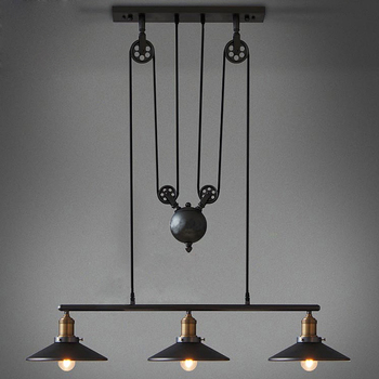 Retro Vintage Pully Pendant Lights Fixture Loft American Hanging Lamp Kitchen Cafe Bar Rope Industrial Edison Light Iron Antique