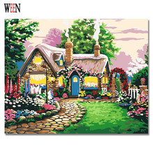 WEEN Cabin Landscape Painting Pictures By Numbers On Canvas DIY Handpainted Coloring numbers Home Castle Wall Artwork