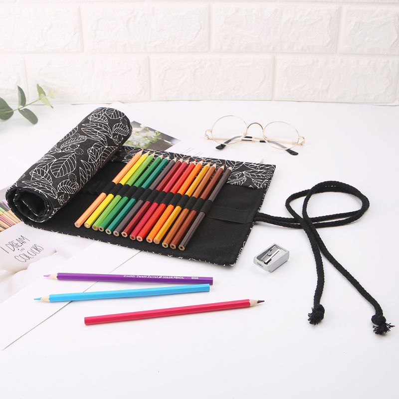 Beautiful Leaf School Pencil Case Roller 12/24/36/48/72 Holes Canvas Roll Up Makeup Canvas Pen Bag For Girls Boys Stationery