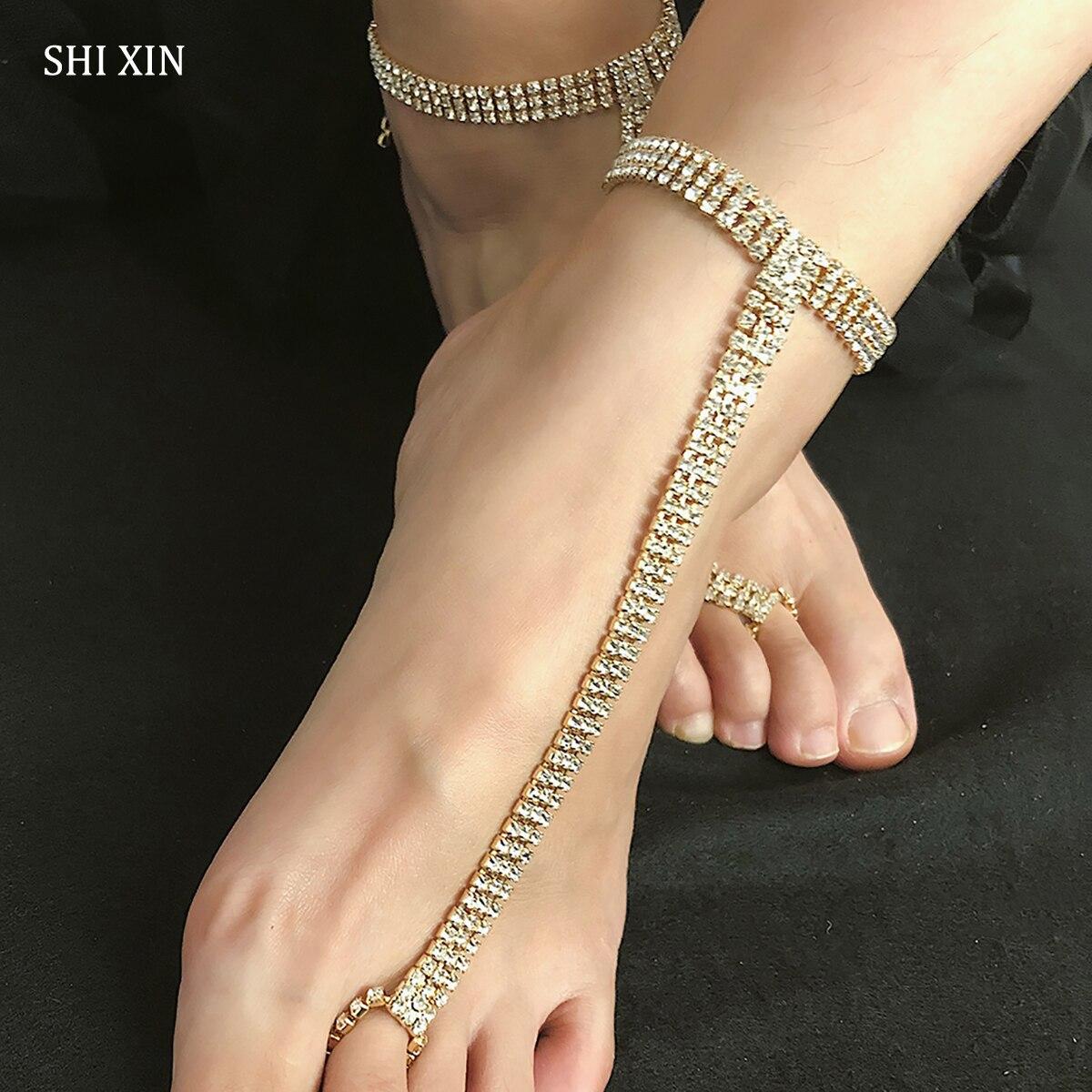 AnsonsImages Stretch Anklet Bracelet Single Line Clear Rhinestones Silver Tone