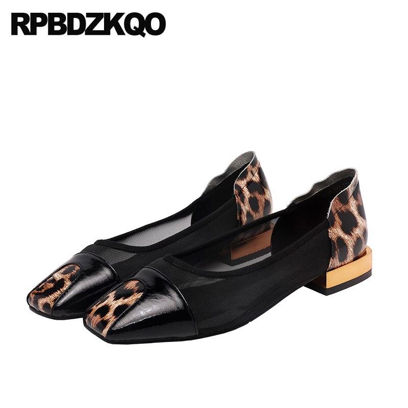 black flats breathable leopard print square toe brand runway slip on designer shoes women luxury 2019 mesh ladies china chinese