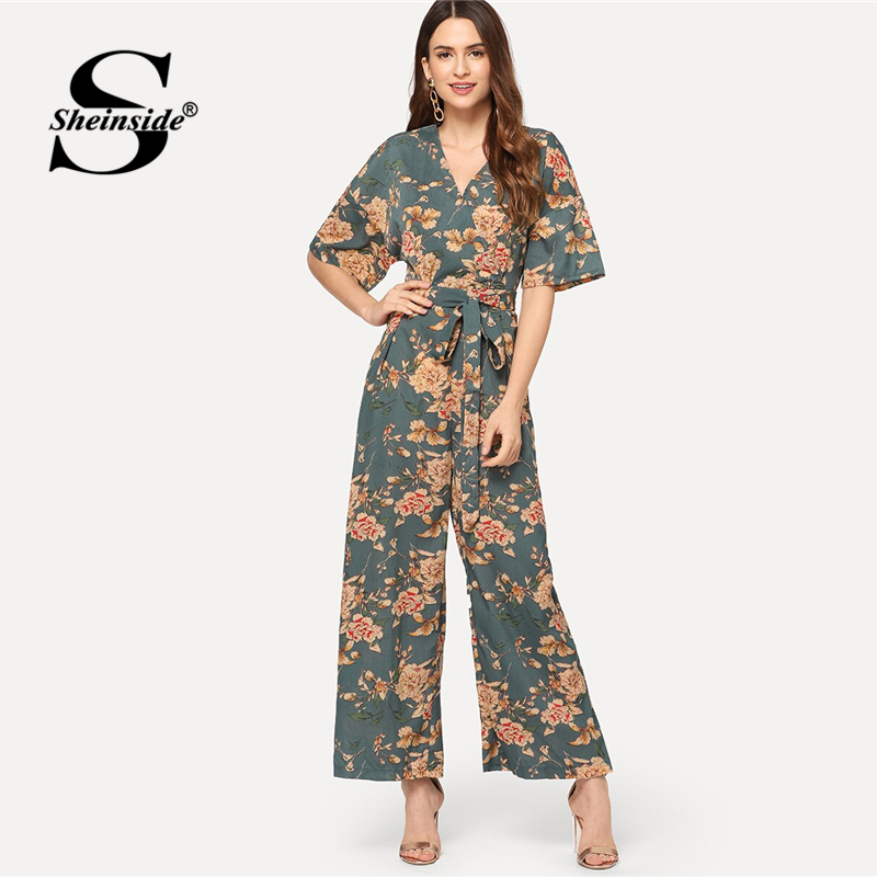 Sheinside Boho Floral Print Wide Leg   Jumpsuit   Women 2019 Summer Mid Waist Wrap   Jumpsuits   Ladies V Neck Belted Maxi   Jumpsuit