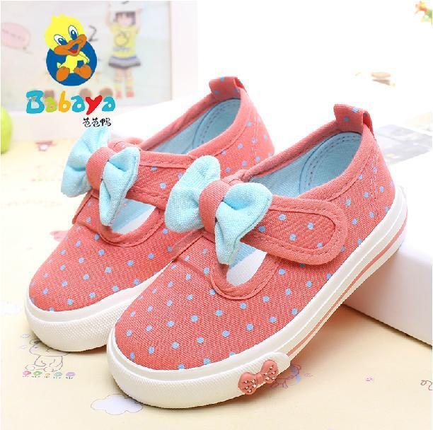 2015 BABAYA brand Summer low polka dot butterfly slip on flat dance soft canvas toddle cute girls girl Children casual sneakers