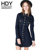 HDY Haoduoyi Womens Vintage Slim denim ling sleeve Mini Dress Pockets Fashion Lady Short Dresses for wholesale Women Vestidos