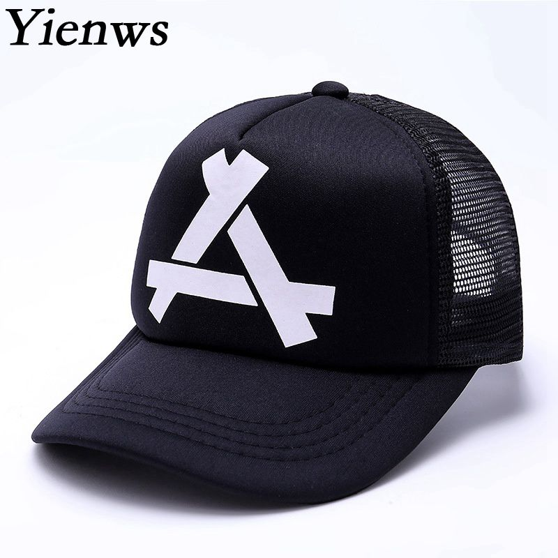Yienws Summer Black White Trucker Cap Men Women Bone Youth Mesh Baseball Hat Wholesale Brand Feminino Casquette YIC474 2016 new new embroidered hold onto your friends casquette polos baseball cap strapback black white pink for men women cap