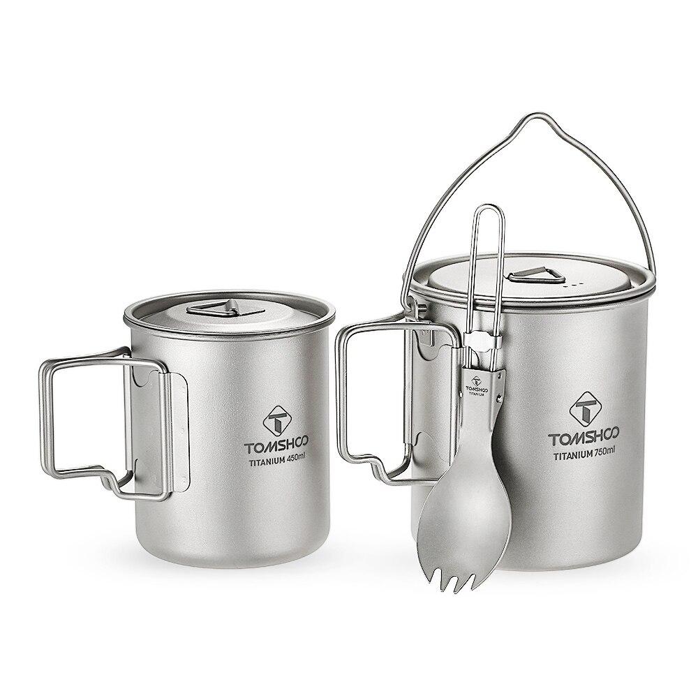 TOMSHOO titane 3 pièces ensemble titane 750 ml Pot 450 ml tasse à eau tasse avec couvercle poignée pliante Spork pour Camping en plein air randonnée