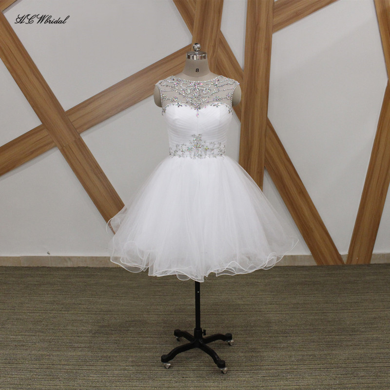 Bianco Breve Puffy Tulle Prom Dresses 2018 Cristalli Sparkly In Rilievo di Lunghezza Del Ginocchio Su ordine Sera Abiti Del Partito Vestido De Fiesta