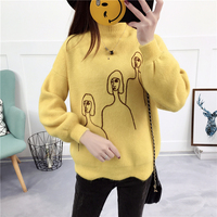 women pullovers sweater lady knitwear half a turtleneck embroidery beauty wavy edge thickening clothes knit a female top