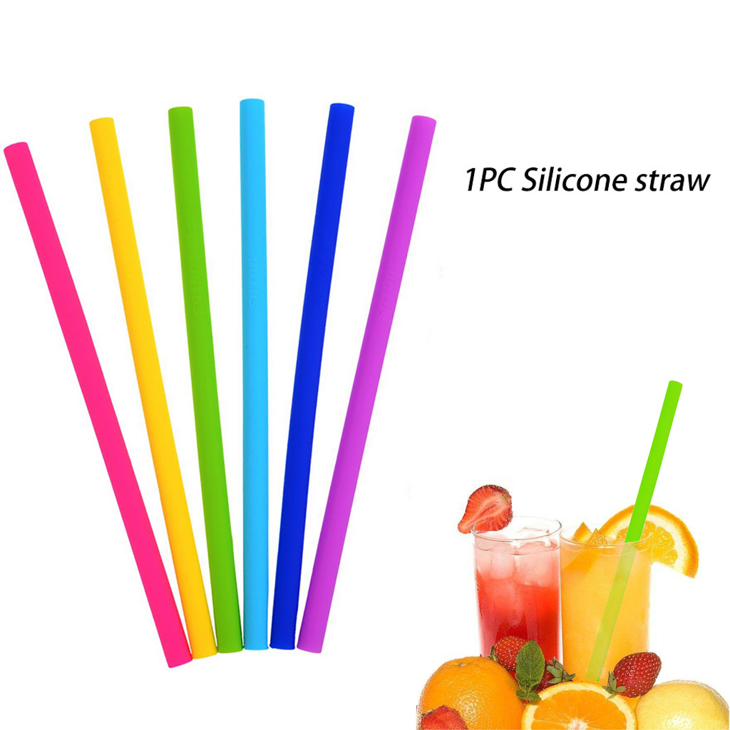1PC Reusable Silicone Straws Straight Smoothies Straws Eco-friendly Home Straw Different Color Practical Straw Blue Green Red image