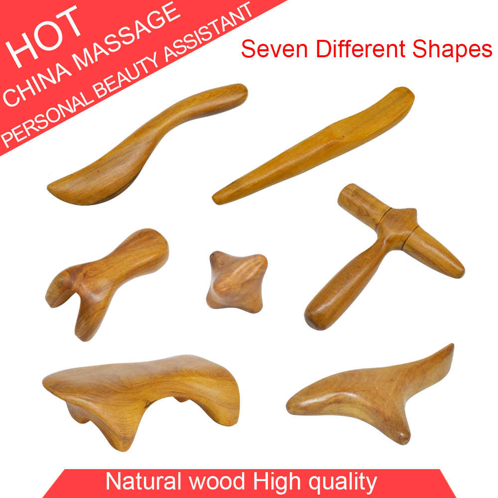 Retail Hot Natual Hout Point Massager Guasha Sloop Reflexologie Relief Relax Tool