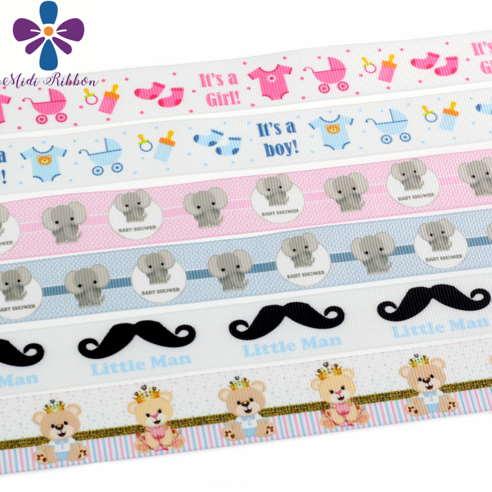 7/822mm Lovely Baby Patterns Printed Grosgrain Ribbon Cute Moustache Gift Packing Stuffs Hair Tie Making 10yards/roll