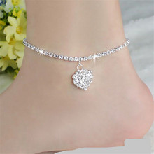 Minimalist Water Drop Anklets Bracelets Cute Mosaic Zircon Silver Color Chain For Female Party Gift Jewelry Leg Bracelet