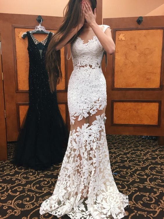 88f5015036 Sexy White Lace Tulle Sheer Evening Gowns Jewel Neck Backless Mermaid  Evening Party Dresses Long Prom Dresses-in Evening Dresses from Weddings    Events on ...