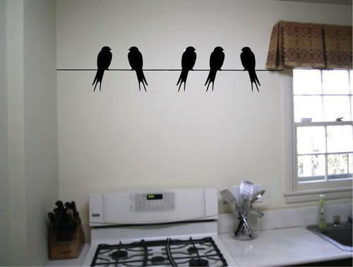 Pattern Wall Sticker Decal Quote Vinyl Birds On A Wire Cool Wall Decor  Decal(China