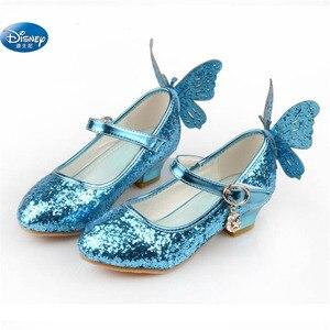 Image 3 - frozen  Elsa princess shoes spring and autumn models pink blue childrens shoes elsa Elsa girls high heels 26 38