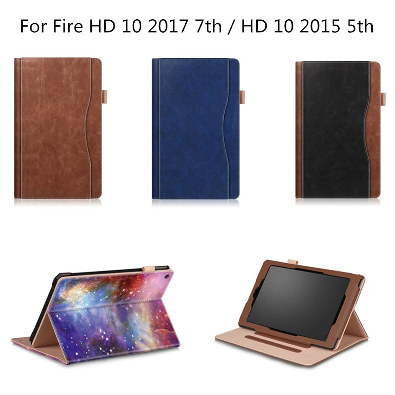 Folio Case for Amazon All-New kindle Fire HD 10 Tablet (5th 7th Generation) Cover Slim Folding Stand with Auto Wake / Sleep