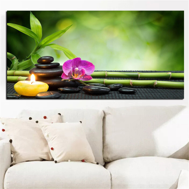 HD Print Modern Orchid Zen Spa Stone Bamboo Candls Oil Painting on Canvas Art Poster Wall Art Picture for Living Room Cuadros (4)