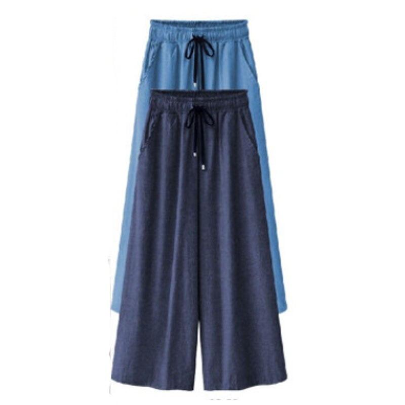 Summer 2019 European Style Women Trousers Loose Wide Leg Pants Plus Size XL- 5XL Calf-Length Pants Casual Female Brand Capris