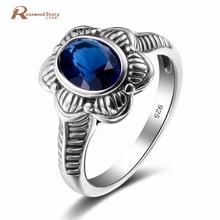 Charming Handmade Women Rings Flower Shape Blue CZ 925 Sterling Silver September Birthstone Ring Size 5-10 Vintage Gift Jewelry