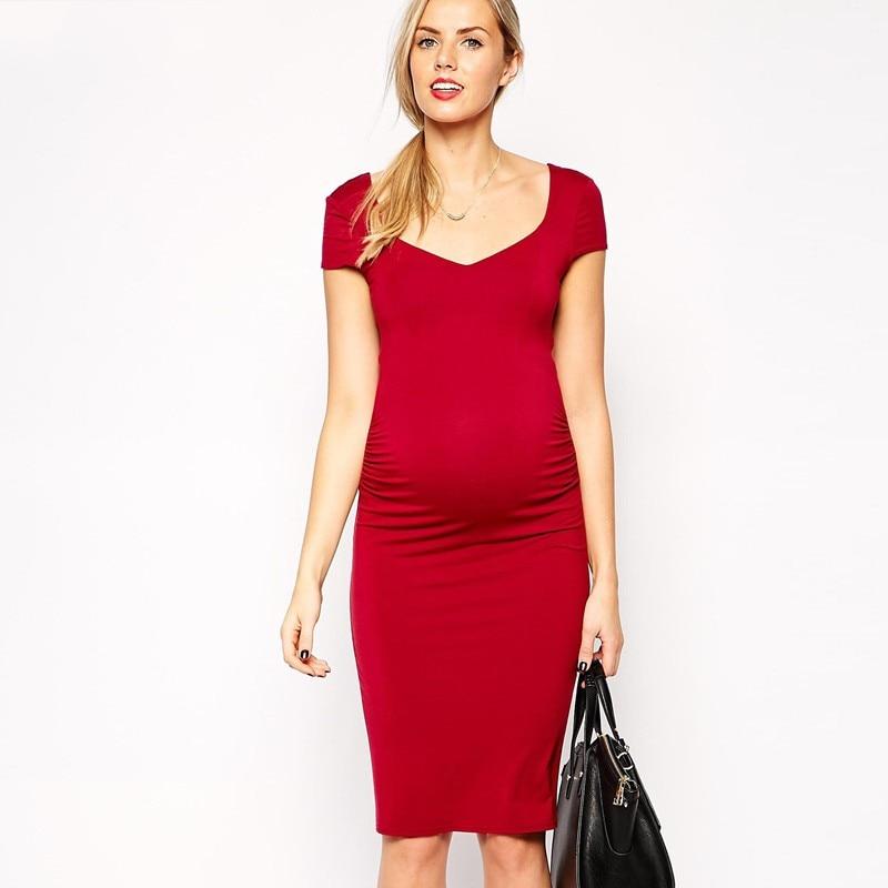 2016 Comfortable Maternity Dress V-neck Pregnant Dress M L XL Womens Vestidos Plus Size Nursing Clothes Black Red