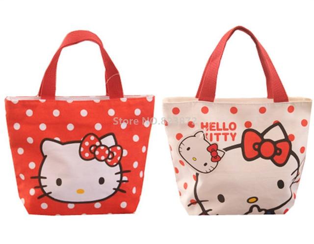 c3e3567b373 Cute Hello Kitty Polka Dot Cartoon Canvas Lunch Bag Girls Kids Lunch Box Bag  for School Women Mini Tote Handbag Picnic Food Bag