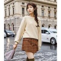 INMAN Autumn O Neck Lantern Sleeve Cotton Artistic Elegant Ribbed Ladies Sweaters