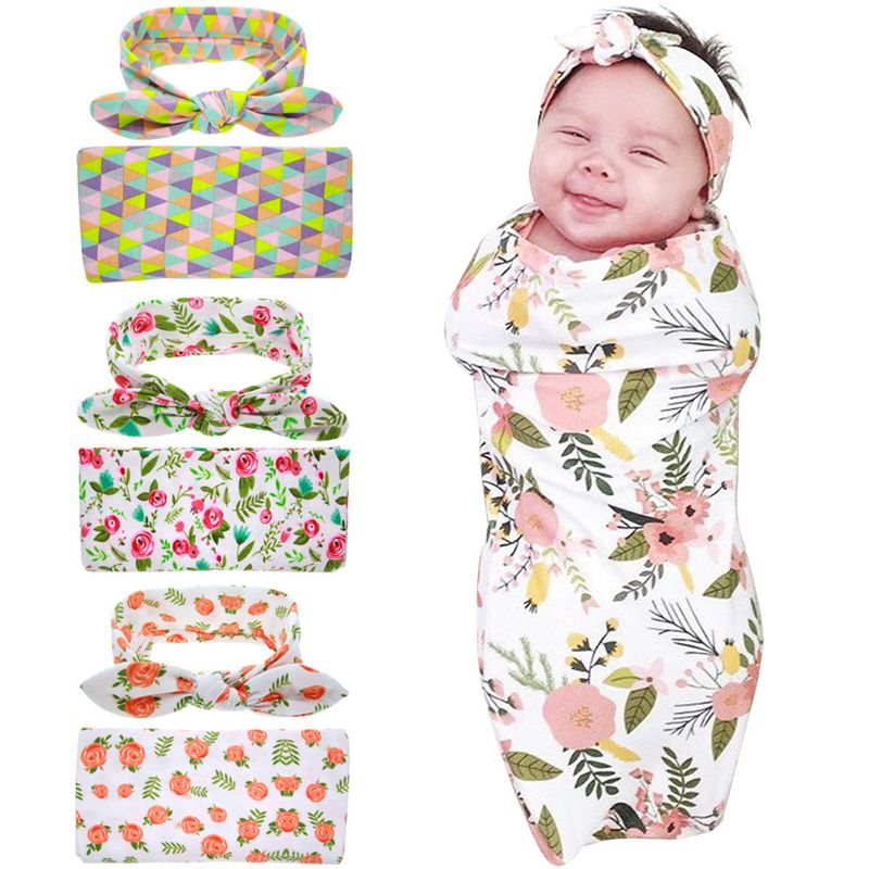 Headband Swaddle Blanket Wrap Newborn Head wrap Swaddle & Head band Set Floral wrapped towel photo prop Top knot 1 set pink floral towels