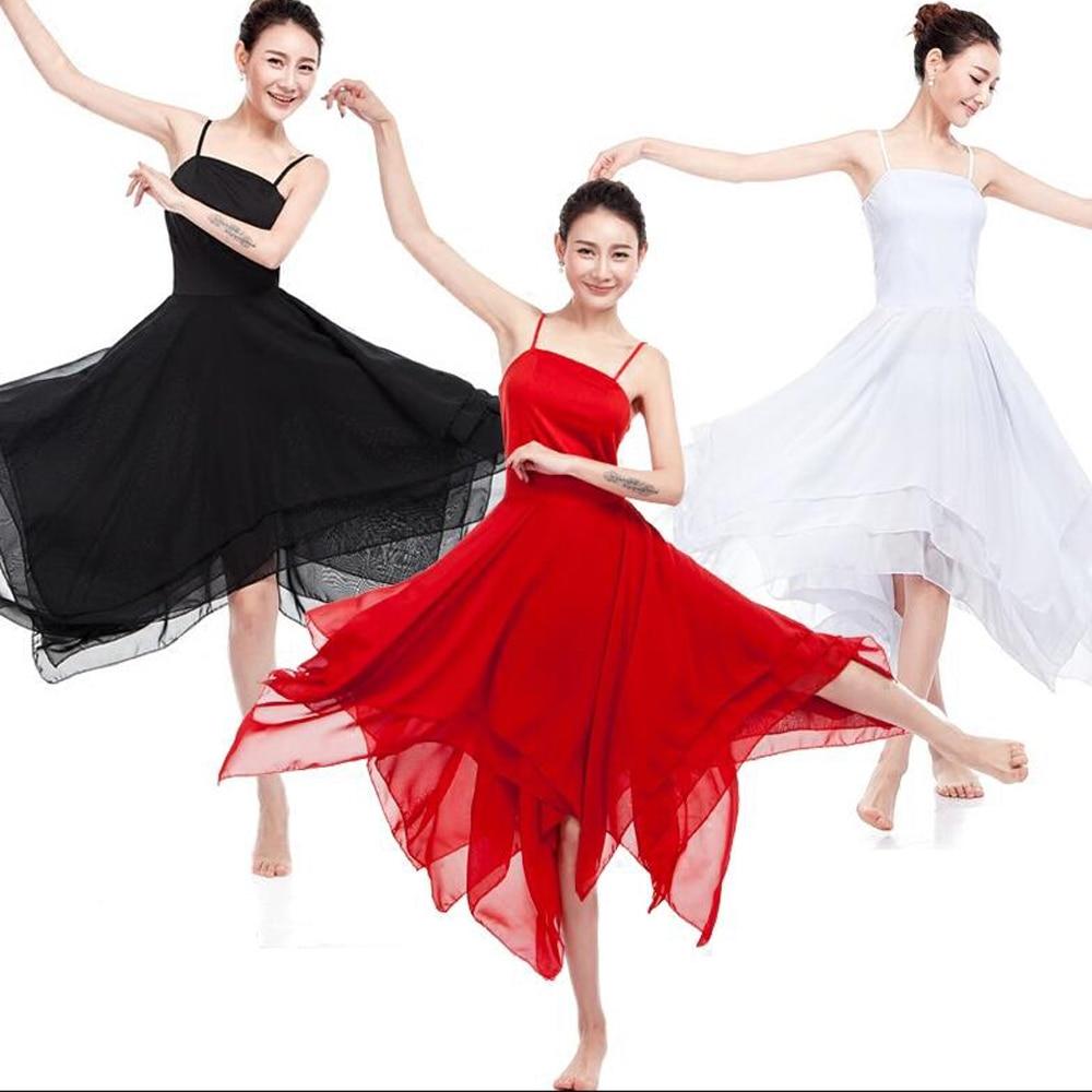 Elegant Lyrical Modern Dance Costumes outfits Women Ballet Dress Adult Contemporary Dance dresses Practice Clothing Performance