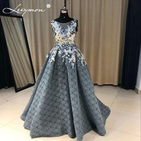 Robe De Soiree Applique Beaded Evening Dress Real Photos Boat Neck Sexy Open Back Party Occasion Formal Long Evening Party Dress