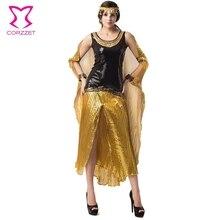 Negro/Oro Lentejuela Vestido de Disfraces Adultos Carnaval Cosplay Disfraz Cleopatra Egipcia Gótico Disfraces De Halloween Sexy Para Las Mujeres
