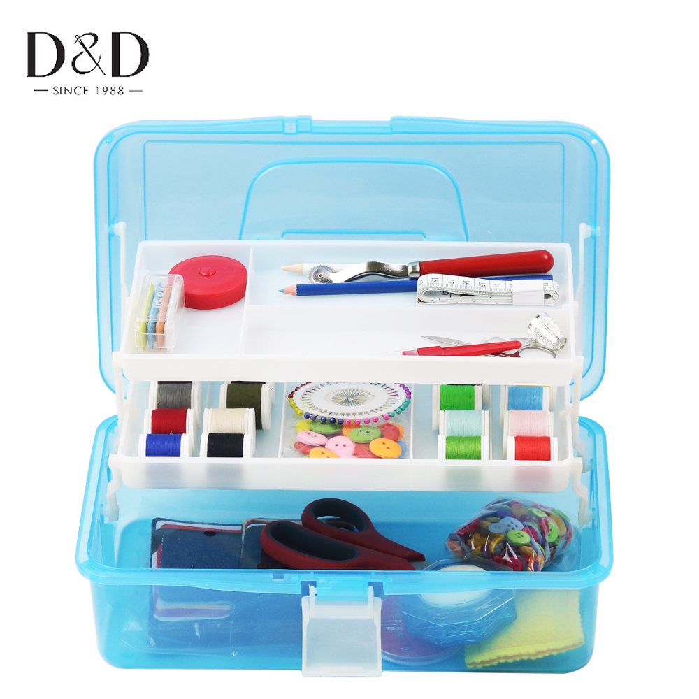 Blue Portable Household Sewing Box,Sewing kit Sewing,eedle and Thread to sew Stitches Hand,Tool Kit