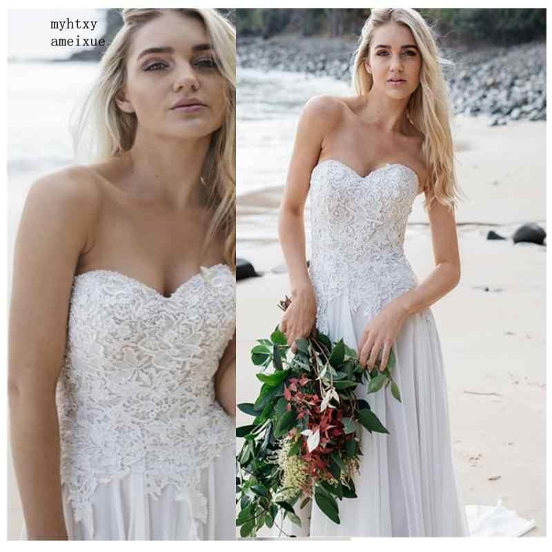 Пикантные Boho неформальный дешевые свадебные платья 2019 халат де mariée Винтаж кружевной топ Новое свадебное платье шифон Сделано в Китае