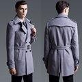 2016 primavera/otoño moda 6XL más tamaño abrigo de lana de manga larga marrón para hombre de doble botonadura abrigo trench envío gratis