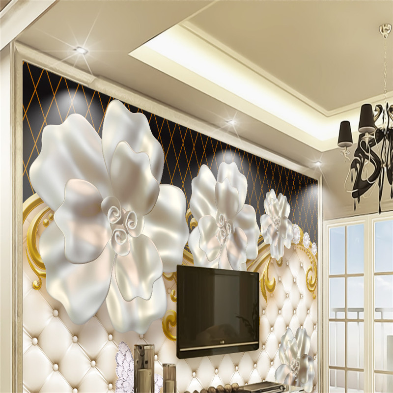 3D Steroscopic Custom Wallpapers European Floral Photo Murals Luxury Jewelry Walls Papers for Living Room Backdrop Home Decor 50 50cm black matte pvc background for jewelry rings photo backdrop for jewelry mini items