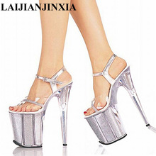 LAIJIANJINXIA 20cm Temptation Crystal Sandals Ultra High Thin Heels Platform 8 Inch Clear Shoes Sexy Stripper Shoes