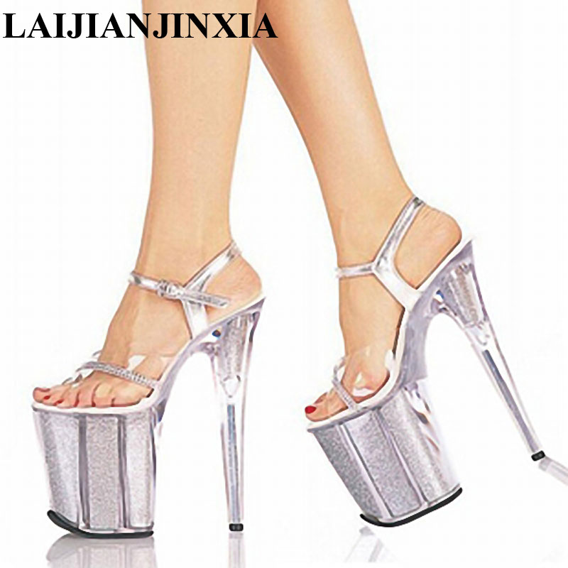 LAIJIANJINXIA 20cm Temptation Crystal Sandals Ultra High Thin Heels  Platform 8 Inch Clear Shoes Sexy Stripper Shoes-in High Heels from Shoes on  ... 2d25d5b08e48