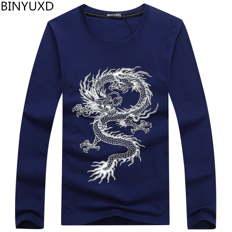 BINYUXD New Fashion Brand Dragon Printing Long Sleeve T Shirts For Men Novelty Tattoo Male O-Neck Hip Hop T Shirts Plus Size 5XL