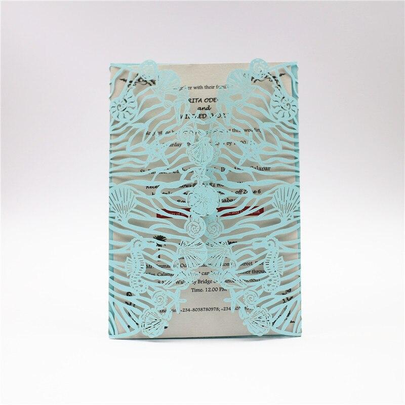 Motyw morski Sea Horse romantyczny wdzięku laserowo wycinane kieszonkowy hurtownia zaproszenie na ślub karty RC118 221 wykonany z błyszczącej perłowy papier w Kartki i zaproszenia od Dom i ogród na  Grupa 1