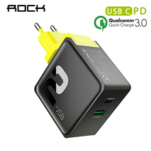 PD QC 3.0 FCP Dual USB Charger,ROCK 36W Quick Travel Charger for iPhone X 8 plus With PD Type C to Lighting Charging Cable 15W