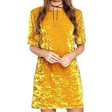 High quality Women's Golden Velvet Mini Party Short Sleeve Slim Package Hip Dress Warm