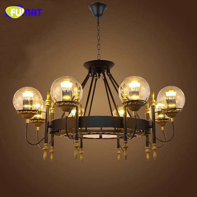 FUMAT Loft Industrial Black Chandelier Lamps Retro Glass Shade ...