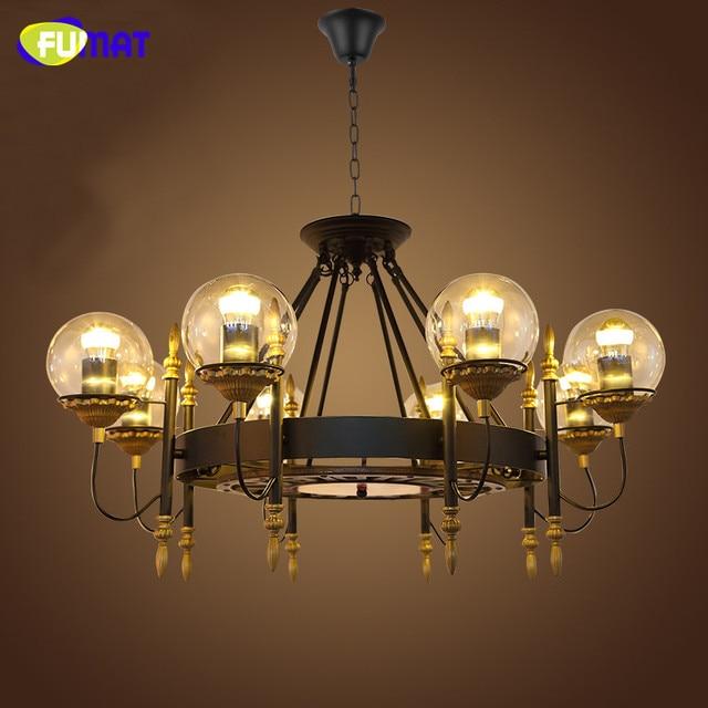 FUMAT Loft Industrie Schwarz Kronleuchter Lampen Retro Glasschirm Lustre  LED Suspension Lampen Wohnzimmer Vintage Kronleuchter Licht