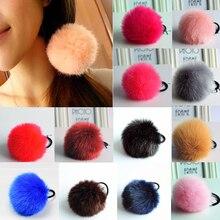 Jualan Hot Soft Colorful Ball tali rambut elastik Gaya Korea Cute untuk Girls Trendy Aksesori Band rambut