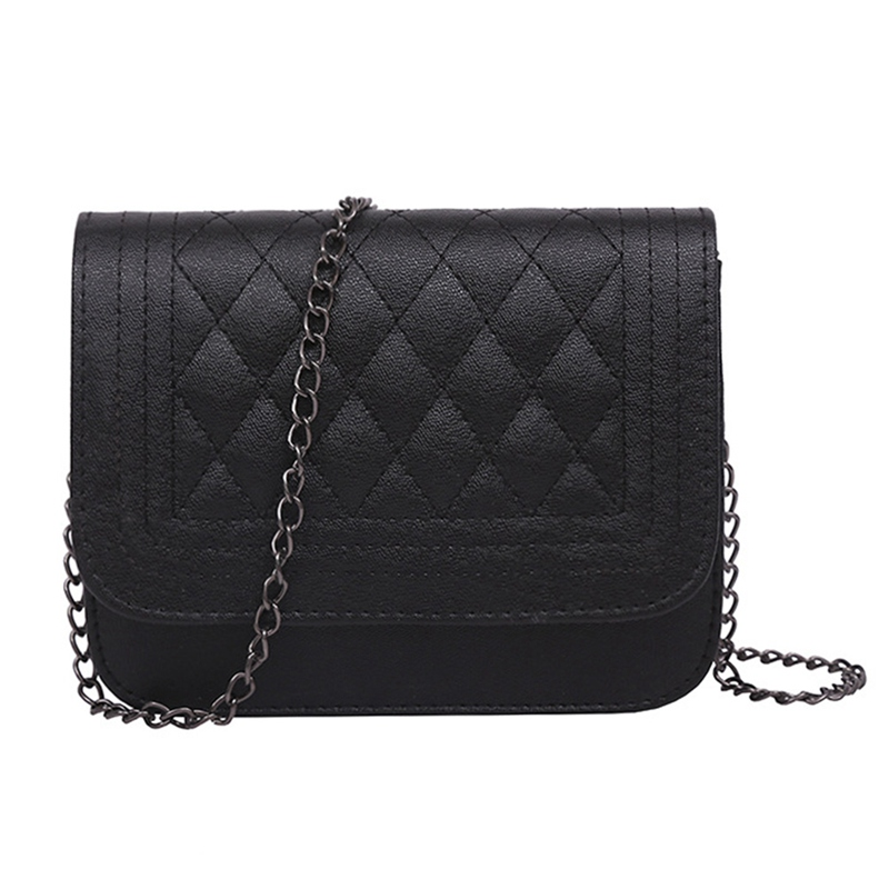 2018 PU Leather Women Messenger Bag Plaid Ladies Crossbody Bag Chain Trendy Candy Color Small Flap Shopping Handbag