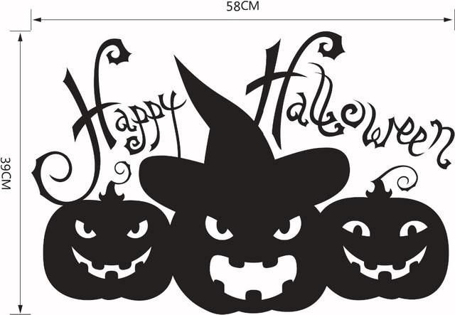 Online Shop Happy Halloween Pumpkins Black White Wall Sticker Window