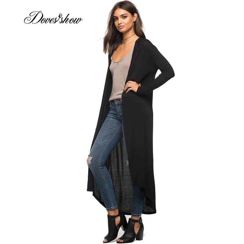 Doves Show New Spring Autumn Elegant soft Long-sleeved Cardigans Female Casual Green Black solid Long hooded Cardigans Coat