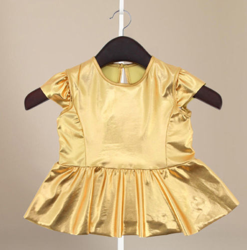 8def7aa64 Baby Girls Childs Kids Gold Dress + Legging Pants Casual Clothes ...